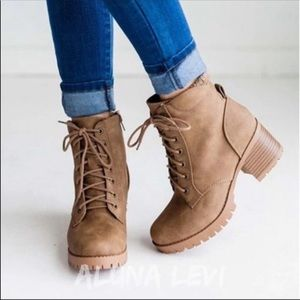 Combat style chunky heel lace up ankle boots